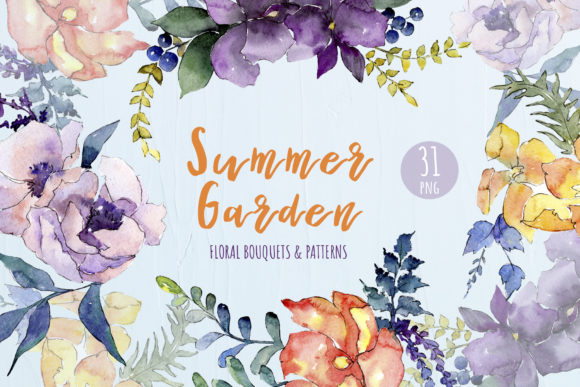 Print on Demand: Watercolor Bouquet Summer Garden Png Graphic Illustrations By MyStocks