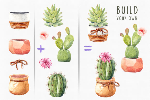 Print on Demand: Watercolor Cactus with Geometric Pot. Graphic Illustrations By SapG Art - Image 3