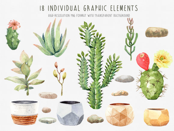 Download Free Watercolor Cactus With Geometric Pot Graphic By Sapg Art for Cricut Explore, Silhouette and other cutting machines.