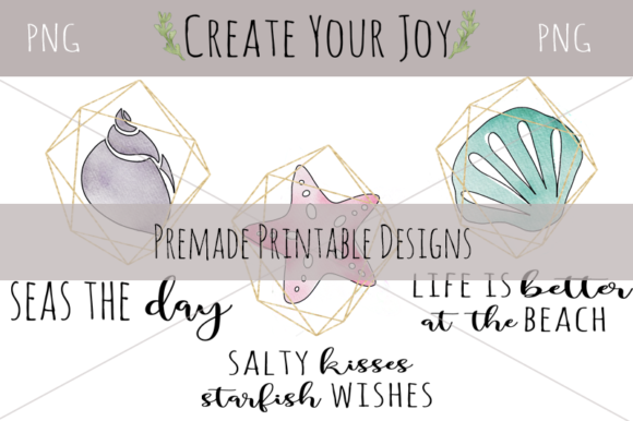 Download Free Watercolor Seashells With Printables Graphic By Create Your Joy Creative Fabrica for Cricut Explore, Silhouette and other cutting machines.