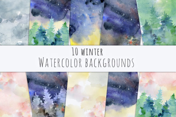 Winter Watercolor Backgrounds Graphic Backgrounds By EvgeniiasArt - Image 3