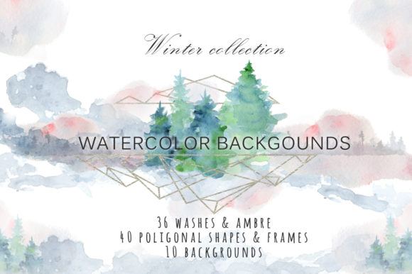 Winter Watercolor Backgrounds Graphic Backgrounds By EvgeniiasArt - Image 1