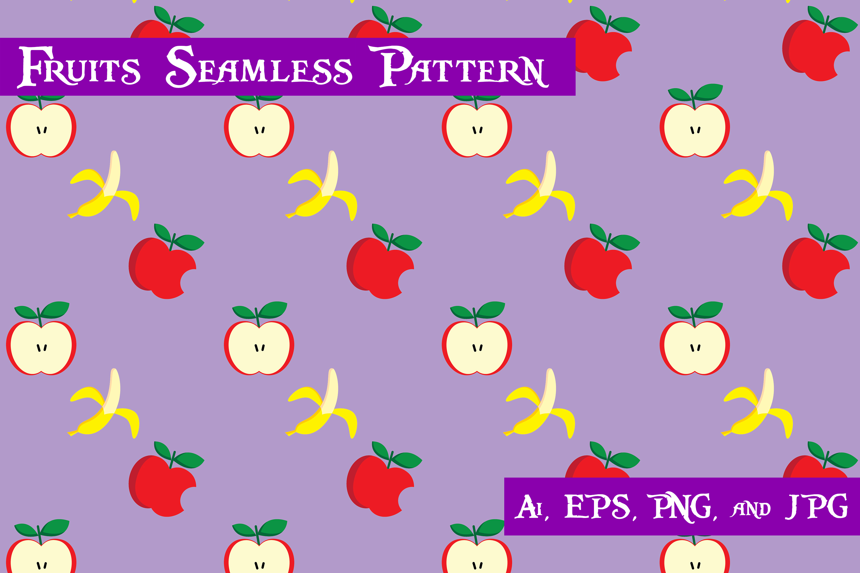 Download Free Apple And Banana Fruits Seamless Pattern Graphic By Purplespoonpirates Creative Fabrica SVG Cut Files