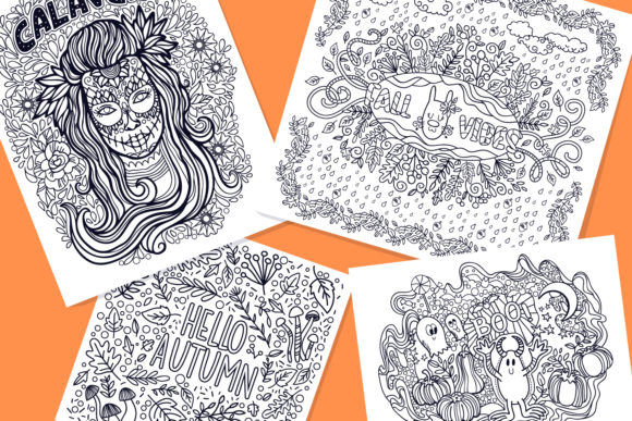 Print on Demand: Autumn Coloring Pages Bundle 15 Vector Graphic Illustrations By tatiana.cociorva - Image 2