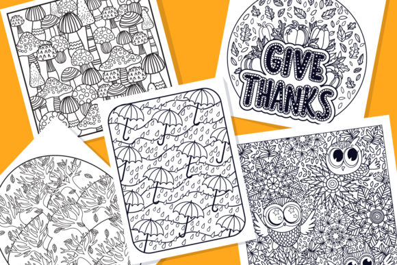 Print on Demand: Autumn Coloring Pages Bundle 15 Vector Graphic Illustrations By tatiana.cociorva - Image 3