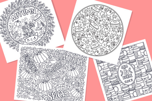 Print on Demand: Autumn Coloring Pages Bundle 15 Vector Graphic Illustrations By tatiana.cociorva - Image 4
