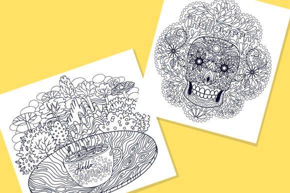 Print on Demand: Autumn Coloring Pages Bundle 15 Vector Graphic Illustrations By tatiana.cociorva - Image 5
