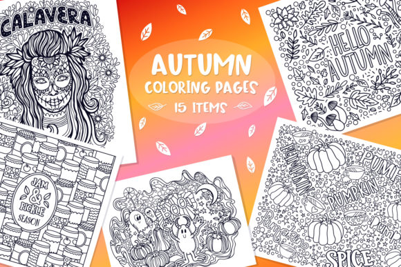 Autumn Coloring Pages Bundle 15 Vector
