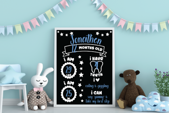 Baby Milestone Chalkboard Sign Graphic Crafts By ElsieLovesDesign - Image 4
