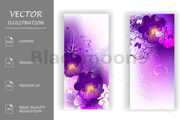 Banner with Bright Violets Graphic Print Templates By Blackmoon9