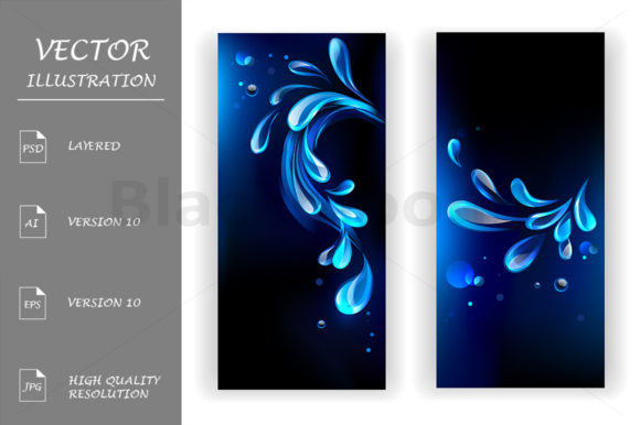 Banners with Blue Drops Graphic Print Templates By Blackmoon9