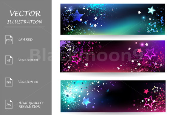 Banners with Bright Stars Grafik Grafik-Templates von Blackmoon9