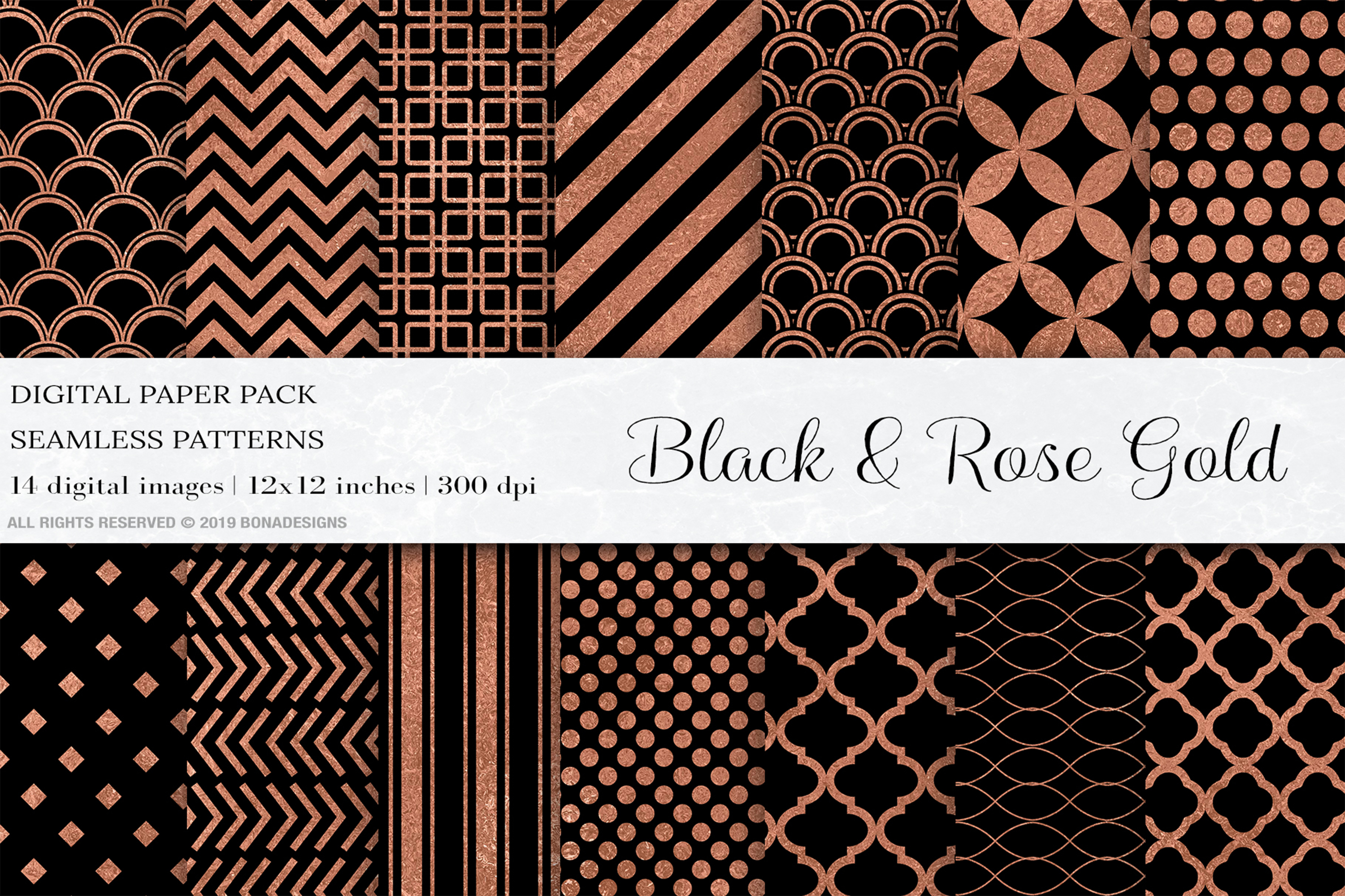 Download Free Black Rose Gold Digital Papers Patterns Grafico Por Bonadesigns for Cricut Explore, Silhouette and other cutting machines.
