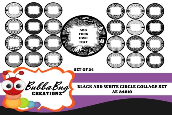 Black and White Circle Collage Set Graphic Crafts By BUBBABUG