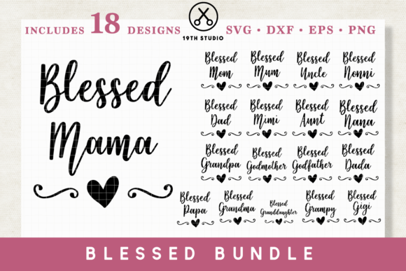 Blessed Family SVG Bundle Graphic Crafts By 19thstudio.com