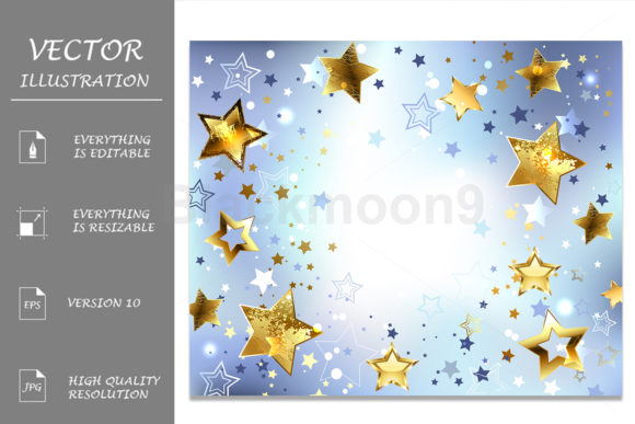 Download Free Blue Background With Gold Stars Graphic By Blackmoon9 Creative for Cricut Explore, Silhouette and other cutting machines.