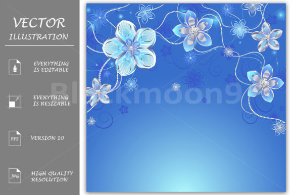 Blue Background with Silver Flowers Graphic Backgrounds By Blackmoon9