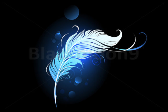 Blue Feather Graphic Illustrations By Blackmoon9