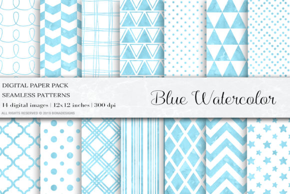 Blue Watercolor Digital Papers, Patterns Graphic Patterns By BonaDesigns