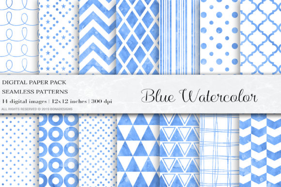 Blue Watercolor Seamless Patterns Graphic Patterns By BonaDesigns