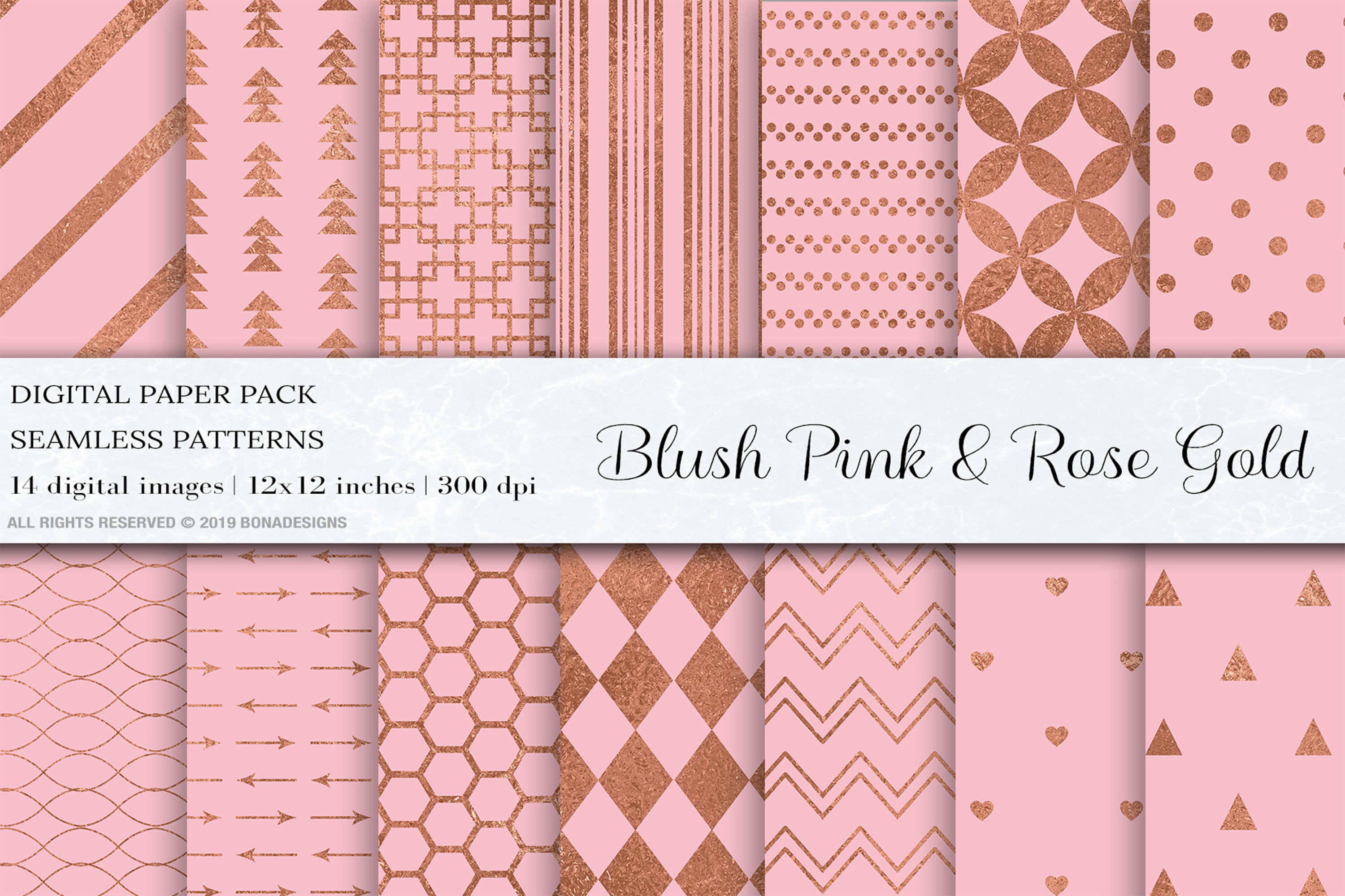 Download Free Blush Pink Rose Gold Digital Papers Graphic By Bonadesigns for Cricut Explore, Silhouette and other cutting machines.
