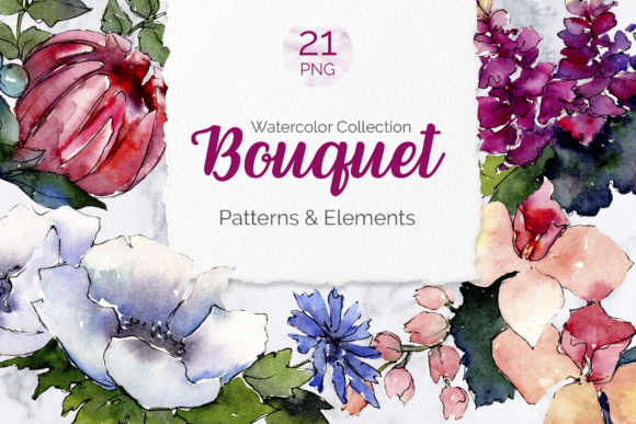 Print on Demand: Bouquet of Flowers Elegance Watercolor Graphic Illustrations By MyStocks