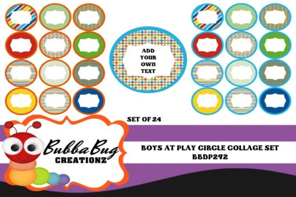 Download Free Boys At Play Circle Collage Set Graphic By Bubbabug Creative for Cricut Explore, Silhouette and other cutting machines.