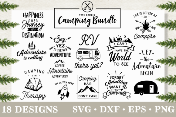Download Free Camping Bundle Graphic By 19th Studio Svg Creative Fabrica for Cricut Explore, Silhouette and other cutting machines.