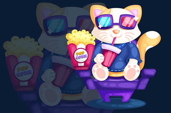 Download Free Cat Watching Movie Illustration Graphic By Tamitam Creative for Cricut Explore, Silhouette and other cutting machines.