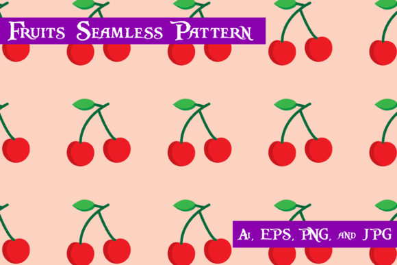 Print on Demand: Cherry Fruits Seamless Pattern Graphic Patterns By purplespoonpirates