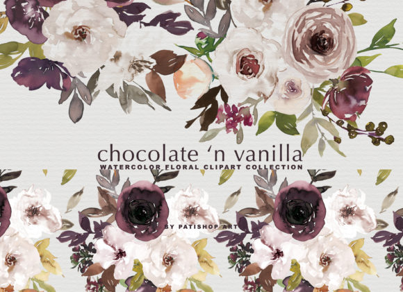 Chocolate & Vanilla Watercolor Floral Graphic By Patishop Art Image 2