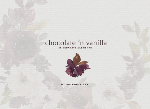 Chocolate & Vanilla Watercolor Floral Graphic By Patishop Art Image 11
