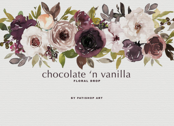 Chocolate & Vanilla Watercolor Floral Graphic By Patishop Art Image 3