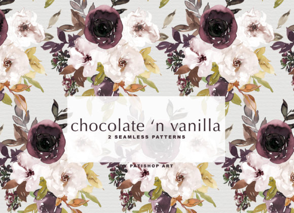 Chocolate & Vanilla Watercolor Floral Graphic By Patishop Art Image 4