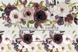 Chocolate & Vanilla Watercolor Floral Graphic By Patishop Art