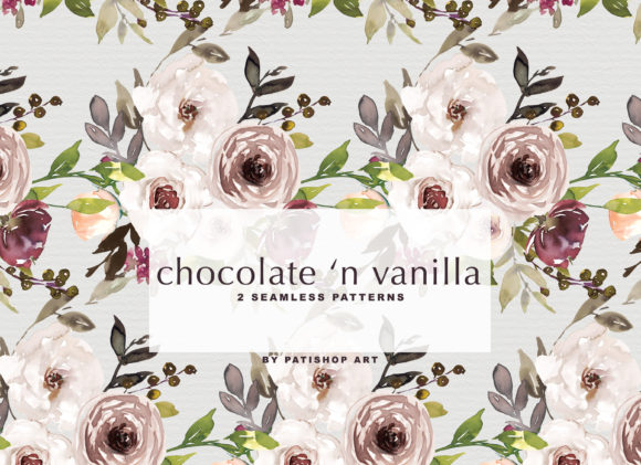 Chocolate & Vanilla Watercolor Floral Graphic By Patishop Art Image 5