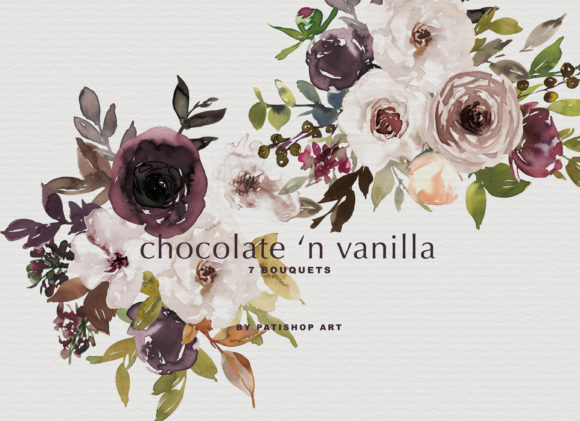 Chocolate & Vanilla Watercolor Floral Graphic By Patishop Art Image 6