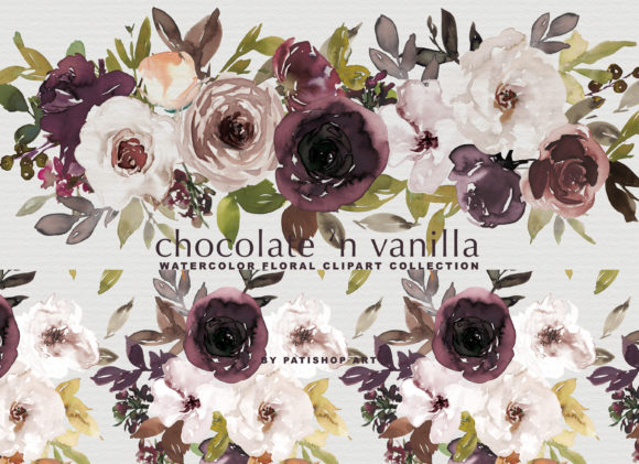Chocolate & Vanilla Watercolor Floral Graphic Illustrations By Patishop Art