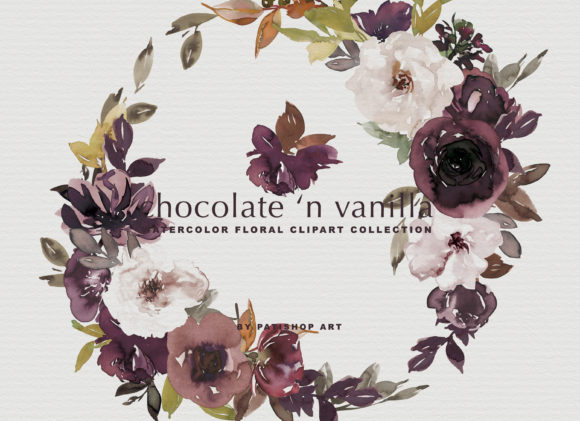 Chocolate & Vanilla Watercolor Floral Graphic By Patishop Art Image 9