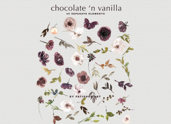 Chocolate & Vanilla Watercolor Floral Graphic By Patishop Art Image 10