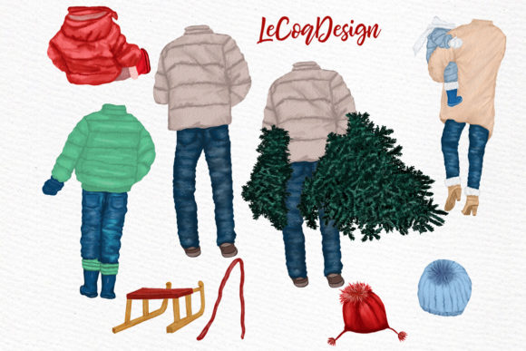 Christmas Family Clipart Graphic Illustrations By LeCoqDesign - Image 3