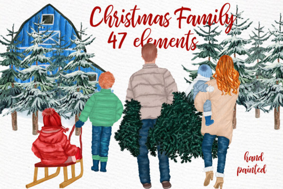 Christmas Family Clipart Grafik Illustrationen von LeCoqDesign