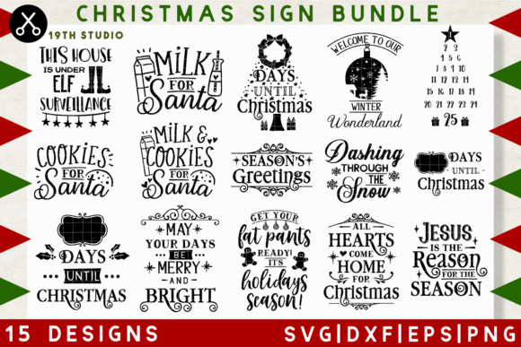 Download Free Christmas Sign Svg Bundle Graphic By 19th Studio Svg Creative for Cricut Explore, Silhouette and other cutting machines.
