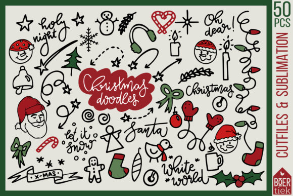 Christmas Doodles Cutting Files Graphic Crafts By Boertiek