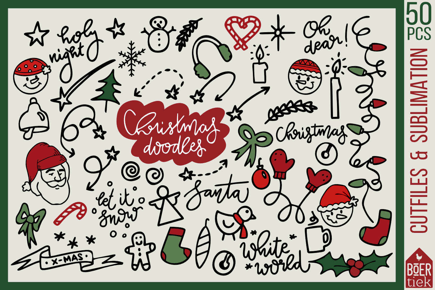 Download Free Christmas Doodles Cutting Files Graphic By Boertiek Creative for Cricut Explore, Silhouette and other cutting machines.