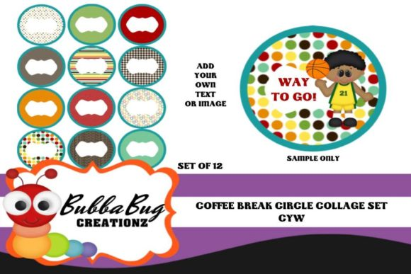Coffee Break Circle Collage Set Graphic Crafts By BUBBABUG