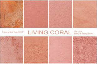 Coral.  Set of 8 Textured Backgrounds Graphic By Natalia Arkusha