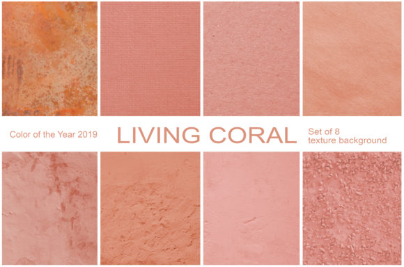 Print on Demand: Coral.  Set of 8 Textured Backgrounds Graphic Textures By Natalia Arkusha