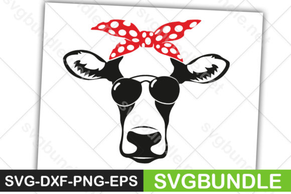 Print on Demand: Cow Face with Sunglasses Graphic Crafts By svgbundle.net