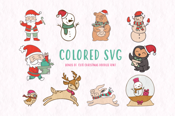 Print on Demand: Cute Christmas Doodles Dingbats Font By Situjuh - Image 2